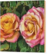Tapestry - Roses And Thorns Wood Print