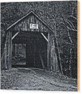 Tappan Covered Bridge Bw Wood Print