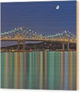 Tappan Zee Bridge Reflections Wood Print by Susan Candelario
