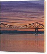 Tappan Zee Bridge Sunset Wood Print