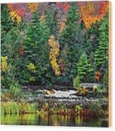 Taquamenon Lower Falls And Observation Deck. Wood Print