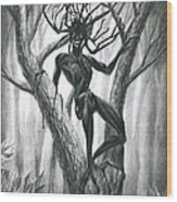 Tar Girl In A Tree Wood Print