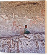 Tarahumara Boy In Painted Cave Near Chihuahua-mexico Wood Print