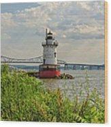 Tarrytown Lighthouse And The Tappan Zee Bridge Wood Print