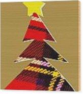 Tartan Christmas Tree On Gold Wood Print