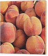 Tasty Peaches Wood Print by Carol Groenen