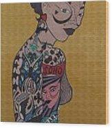 Tattoo Chic Gold Wood Print