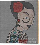 Tattoo Chic Pattern Grey Wood Print