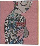 Tattoo Chic Pink Wood Print