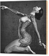 Tattooed Nude Black And White Wood Print