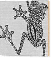 Tattooed Tree Frog - Zentangle Wood Print
