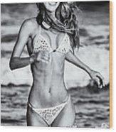 Ms Turkey Tatyana Running In The Ocean Waves - Glamor Girl Photo Art Wood Print