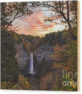 Taughannock Falls Autumn Sunset Wood Print