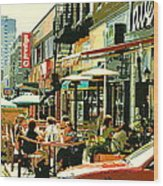 Tavern In The Village Urban Cafe Scene - A Cool Terrace Oasis On A Busy Hot Montreal City Street Wood Print