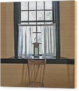 Tavern Window And Chair Wood Print