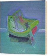 Tavira Fishing Boat Abandoned Wood Print