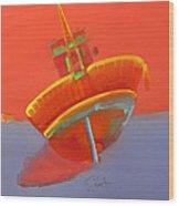 Tavira Fishing Boat Wood Print