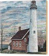 Tawas Point Light Wood Print