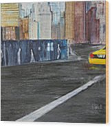 Taxi 9 Nyc Under Construction Wood Print