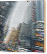 Taxi On Times Square Wood Print