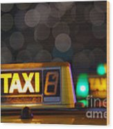 Taxi Signs Wood Print