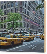 Taxicabs Of New York City Wood Print