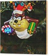 Taz On Christmas Tree Wood Print by Mike Martin