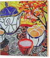 Tea And Eggs  Wood Print by Diane Fine
