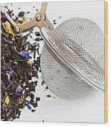 Tea Ball Infuser And Scented Tea Wood Print