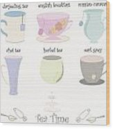 Tea Cup Collection Vector Wood Print