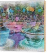 Tea Cup Ride Fantasyland Disneyland Pa 01 Wood Print