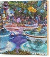 Tea Cup Ride Fantasyland Disneyland Pa 02 Wood Print
