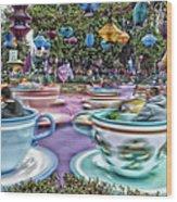 Tea Cup Ride Fantasyland Disneyland Wood Print by Thomas Woolworth