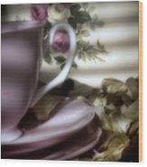 Tea Cups And Roses Wood Print