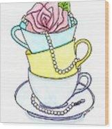 Tea Cups Wood Print