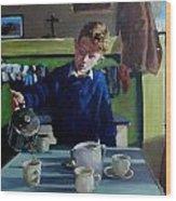 Tea For Three  Me Da Me Ma And Me Wood Print