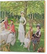 Tea In The Garden Wood Print