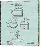 Tea Kettle Patent 1916 Wood Print