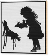 Tea Party Dolly Silhouette Wood Print