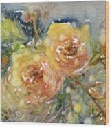 Tea Roses Wood Print