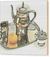 Tea Service With Orange Dramatic Wood Print