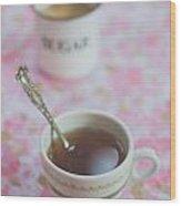 Tea Time In Pink Wood Print