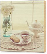 Tea Time Wood Print by Kay Pickens