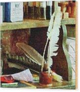 Teacher - School Supplies In General Store Wood Print