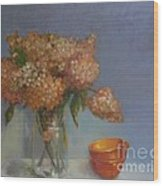 Teacups and Hydrangeas   copyrighted Wood Print