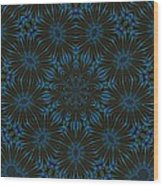 Teal And Brown Floral Abstract Wood Print
