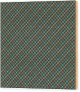Teal And Green Diagonal Plaid Pattern Fabric Background Wood Print