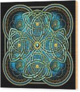 Teal Blue And Gold Celtic Cross Wood Print
