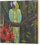 Teal Chartreuse Parrot Wood Print