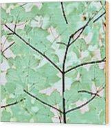 Teal Greens Leaves Melody Wood Print